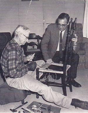 My grandfather Hobert Clements demonstrating rush weaving.