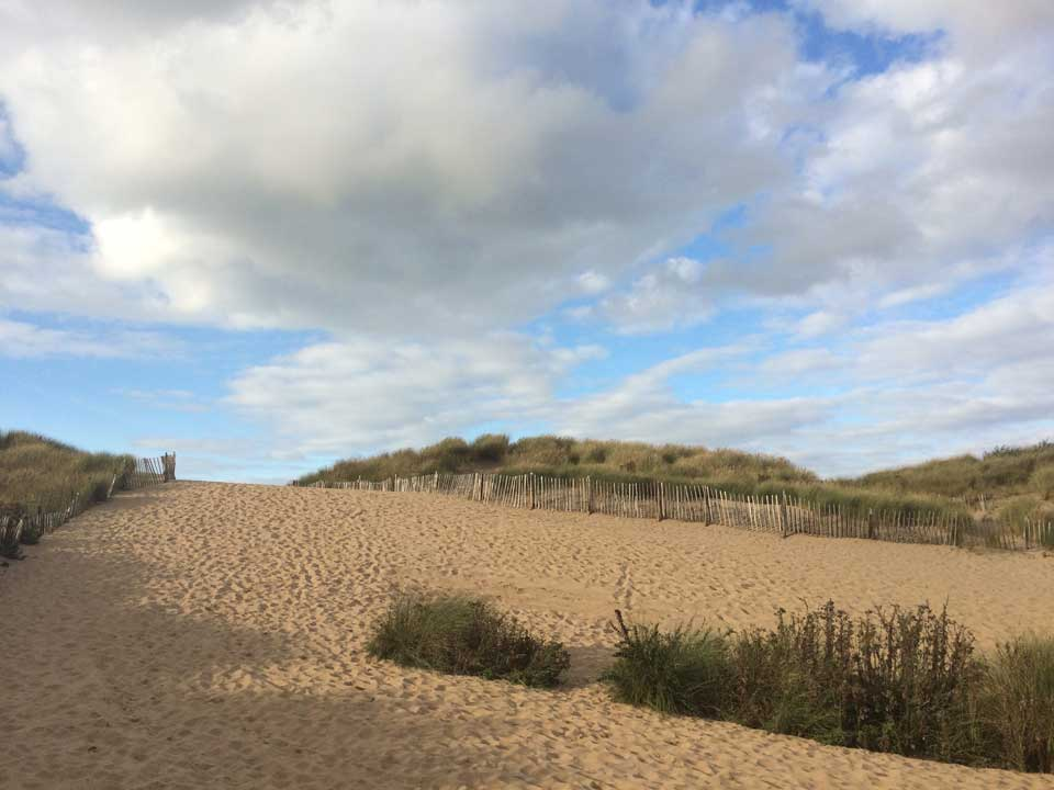 the gorgeous sky and dunes at Formby
