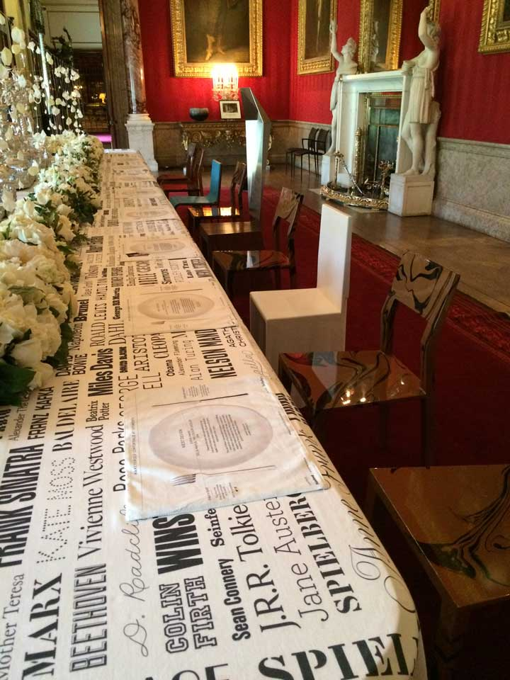 If you had a dinner party, and could invite anyone, living or dead, who would you invite? The tablecloth was filled with the results of this survey. Very cool.