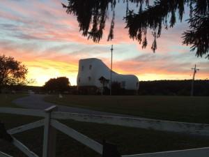 Giant Shoe House at Sunset